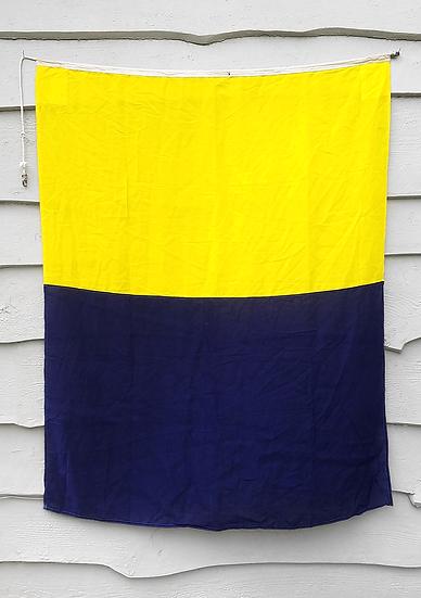 Vintage Nautical Flag | Yellow + Navy