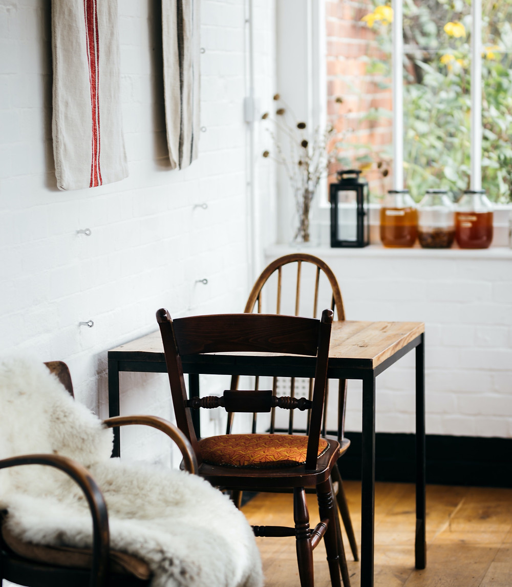 Eclectic Scandinavian style rustic home with warm primitive style.