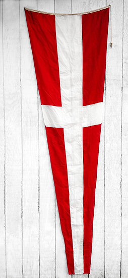 Vintage Nautical Flag | Red + White Cross Pennate