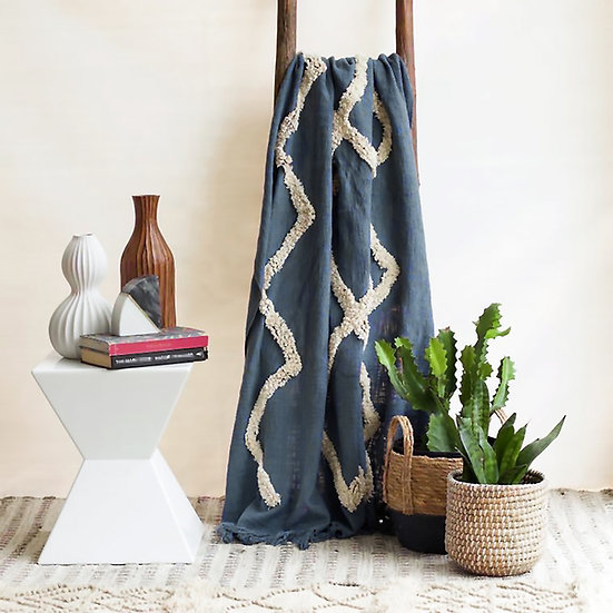 TAJIK | Tufted Cotton Throw - Blue Denim