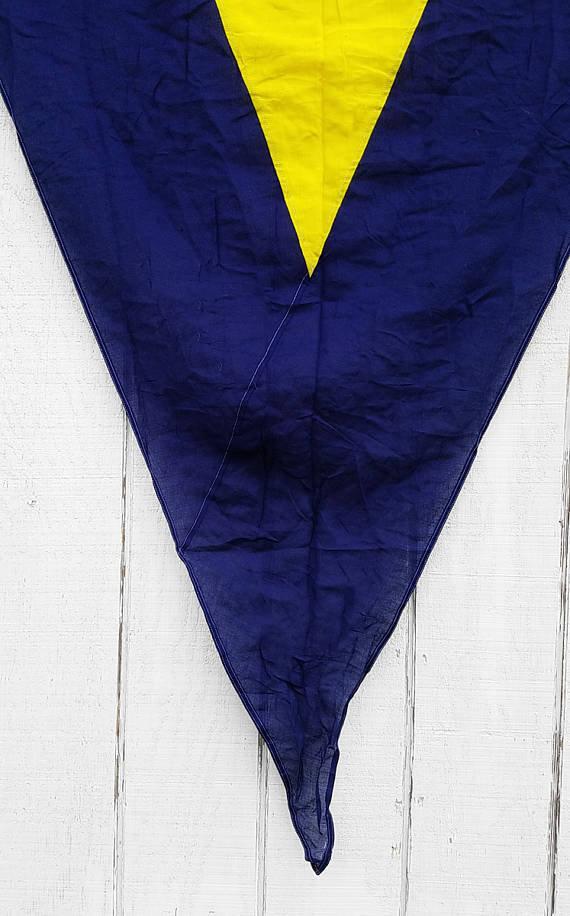 Vintage Nautical Flag   Navy + Yellow Triangle