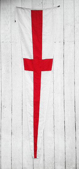 Vintage Nautical Flag | White + Red Cross Pennate