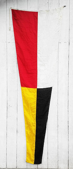 Vintage Nautical Flag | Red, White, Black + Yellow Pennate