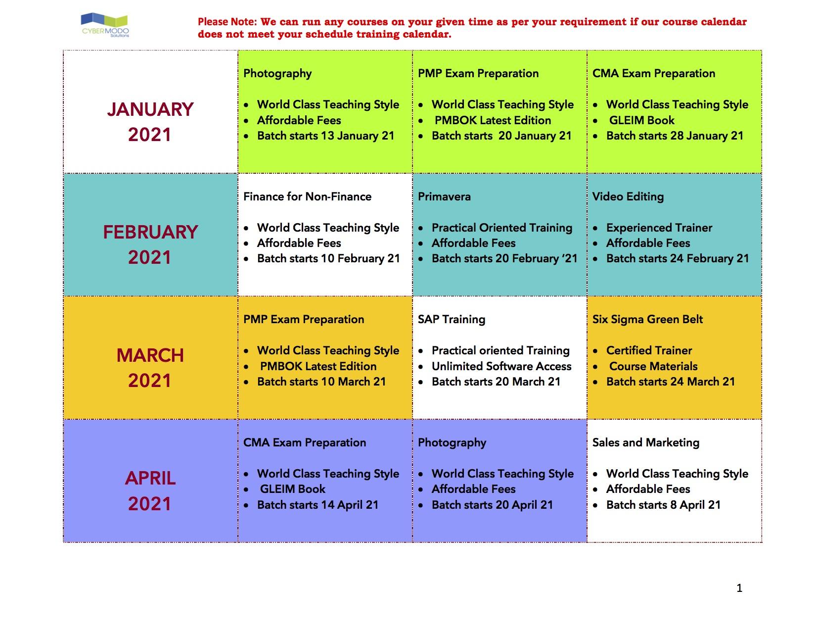 training calendar Jan - Apr 2021