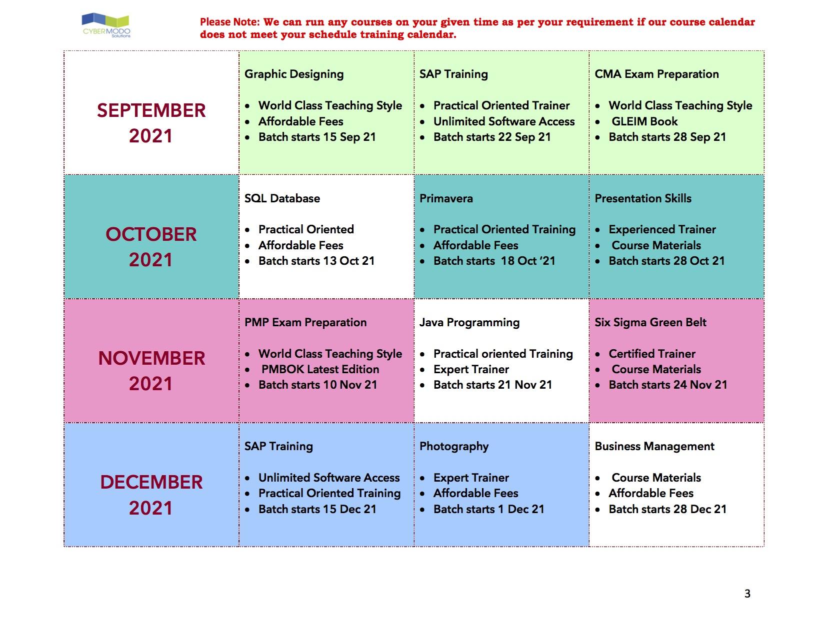 training calendar Sept - Dec 2021