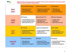 training calendar May - Aug 2021
