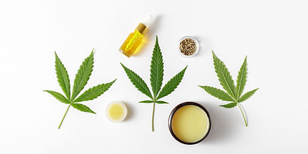 Spa background with CBD oil, cannabis  healing wax salve, leaves and hemp seeds. Light bac