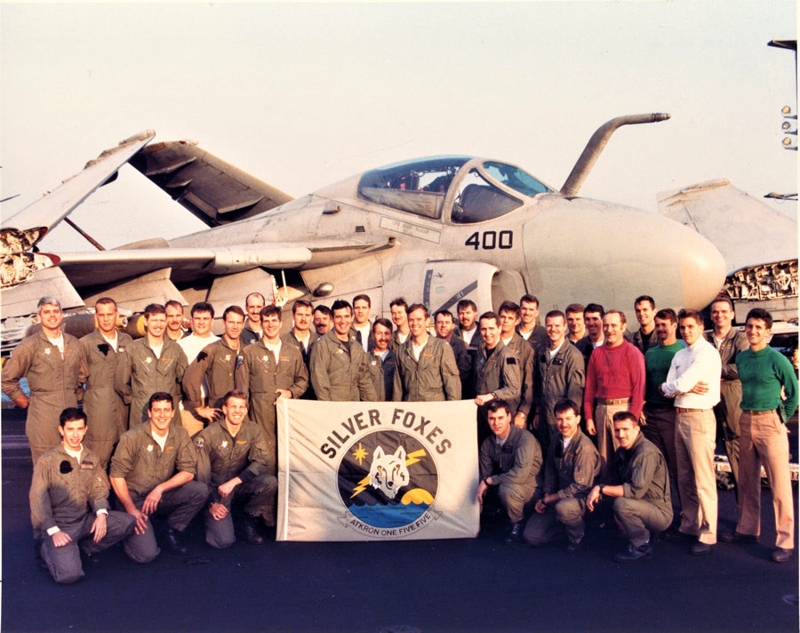 Silver Foxes officers pictured in front of one of the squadron's A-6 Intruders during VA-155's Desert Storm cruise.
