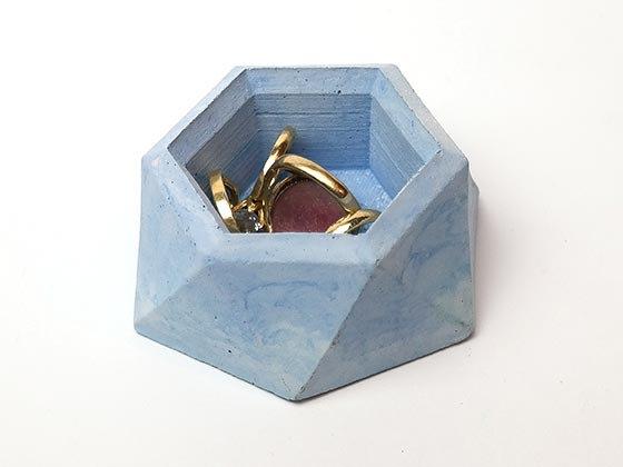 קערית לטבעות מבטון - כחול סגלגל
