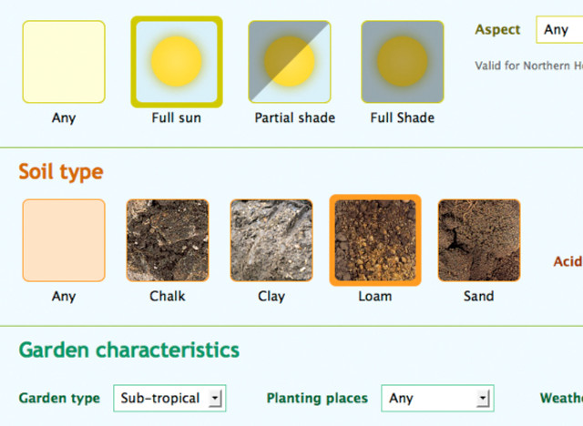 Pantallazo de la aplicación Plant Selector
