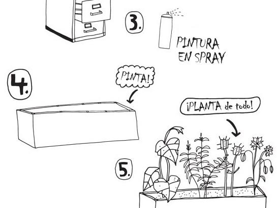 Plantando en el mobiliario de oficina