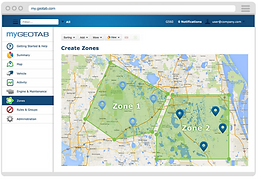 With Geotab, managementcreates customzones for each client. These geo-fenced zones show vehicle activity, in REAL-TIME,within that zone.The Security Operations Center is alerted whena patrol vehicle has entered a zone. If the patrol vehicle leaves a zone too early, or if the patrol vehicle stays idle with no activity for a set period of time, that patrol vehicle will be notified immediately by the Security Operations Center to inquire why.