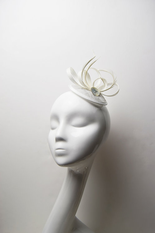 Hettie: Pure White Feather Fascinator