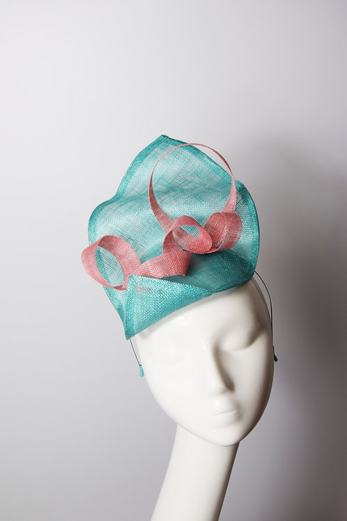 Odette: Turquoise and Coral Sculpted Fascinator