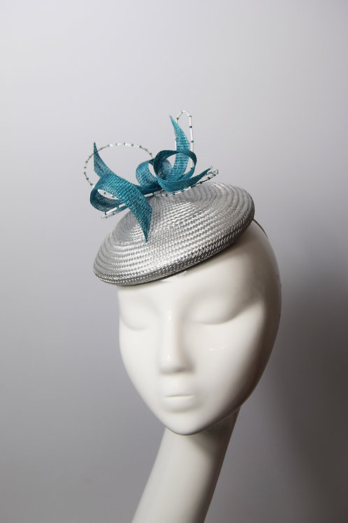 Barb: Silver and Teal Pillbox Hat