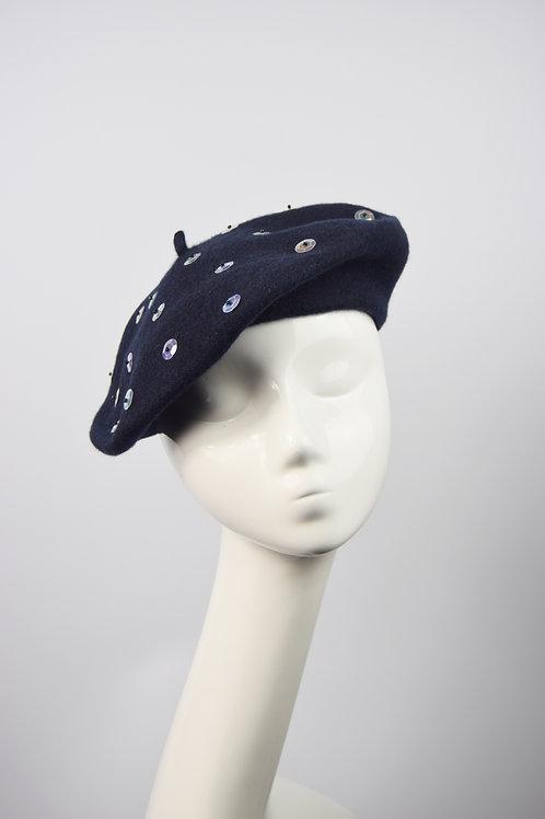 Bea: Sequin Beret, Navy/Pearl