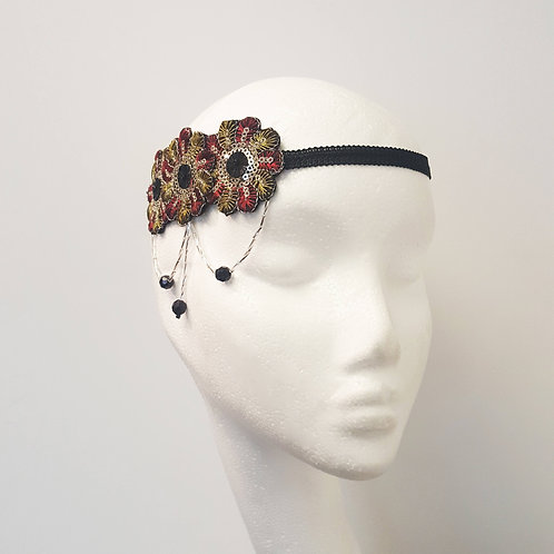Lillian: Sequinned Headpiece, Red