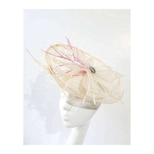 Summer: Cream Saucer Hat with Pink and Cream Feathers