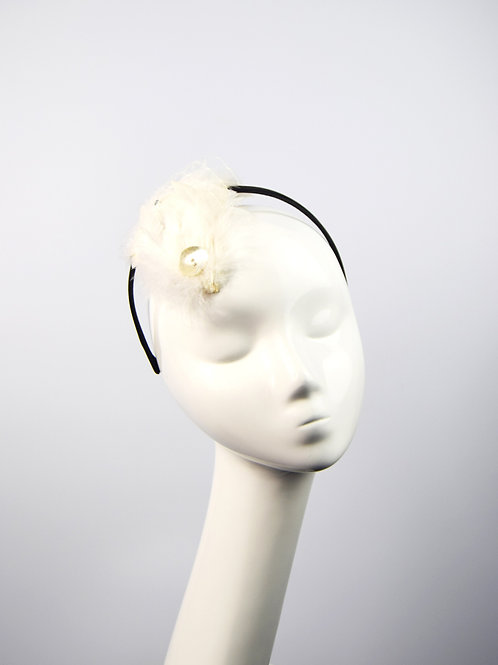 Margot: Snow White Feather Fascinator