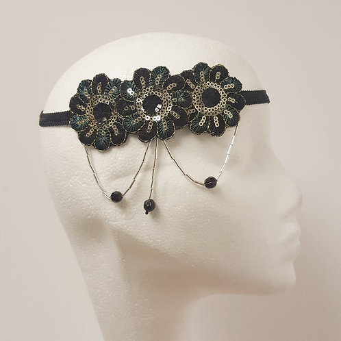Lillian: Sequinned Headpiece,Green