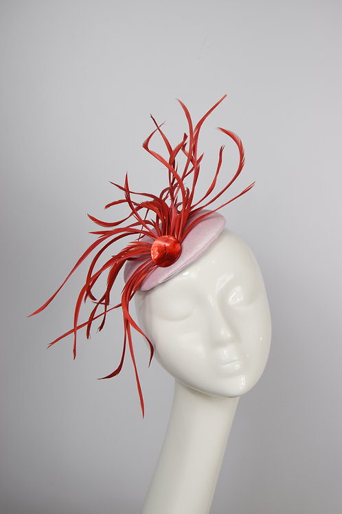 Hettie II: Pink and Coral Feather Fascinator