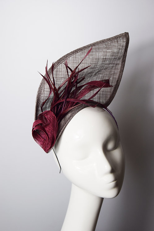 Ona: Mulberry Sculpted Fascinator