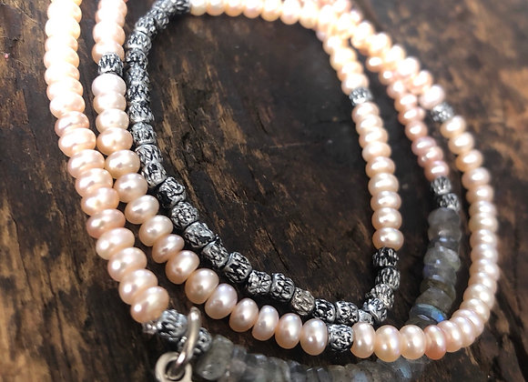 Freshwater Pearl wrap with sterling