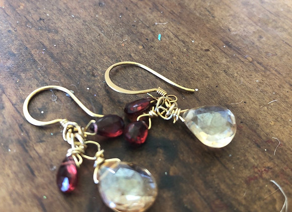 14k with garnets and yellow topaz
