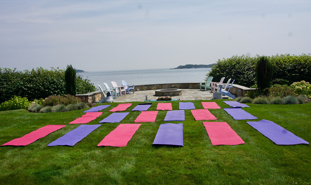 Set up by the sea for yoga under the full eclipse