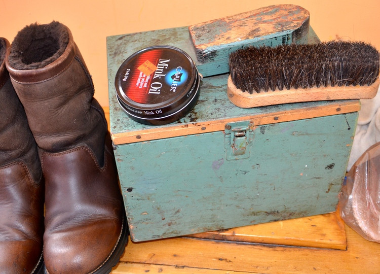 Uggs as good as new and Gramps old shoe shine kit