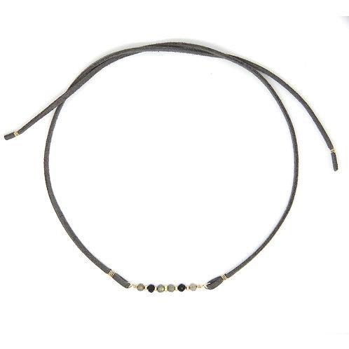 Labradorite & Black Spinel grey leather Cordelia choker necklace