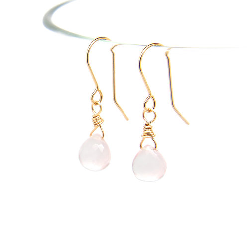 Rose Quartz Rosalind solid gold earrings