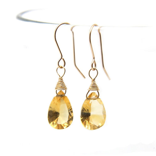 Citrine Rosalind solid gold earrings