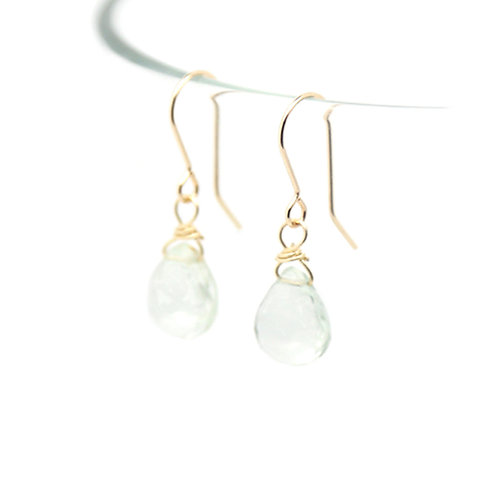 Green Amethyst Rosalind solid gold earrings
