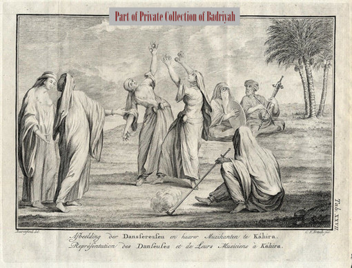Female dancers and musicians in Cairo