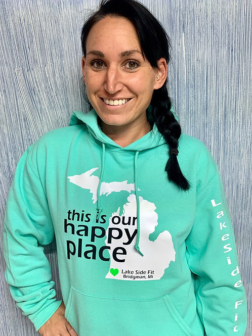 This is our happy place fleece pullover hooded sweatshirt