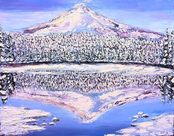 """Winters At Trillium Lake"" Fine Art Print"