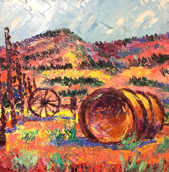 """Desolate Ranch,"" Oil on Board -8x8"
