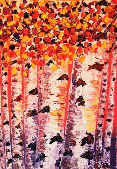 """Birch Trees At Sunset"""