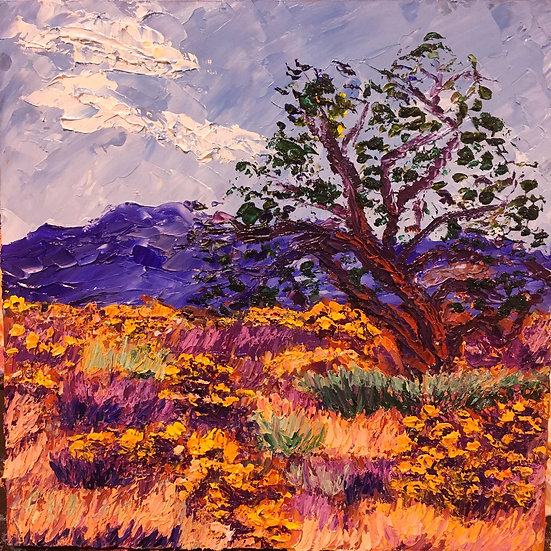"""Lone Tree"" Oil on Board -8x8"