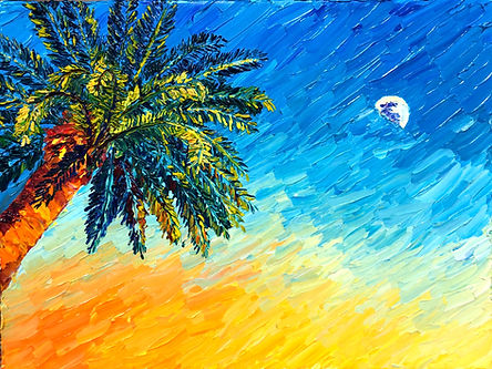 Palm Tree Moon Rise Sunset
