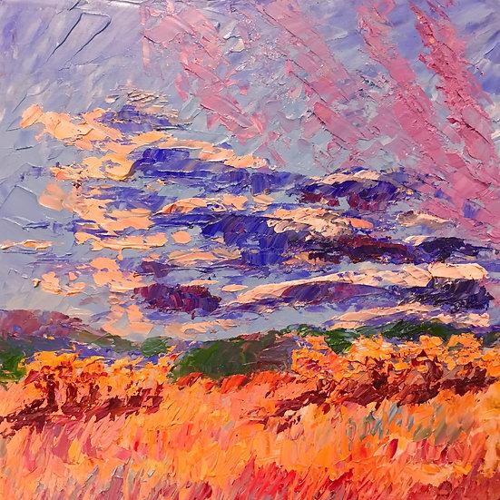 """""""Badlands Sunset"""" Oil on Board -8x8"""