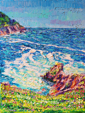 Hikes At Cape Falcon. 12x16. Oil on canv
