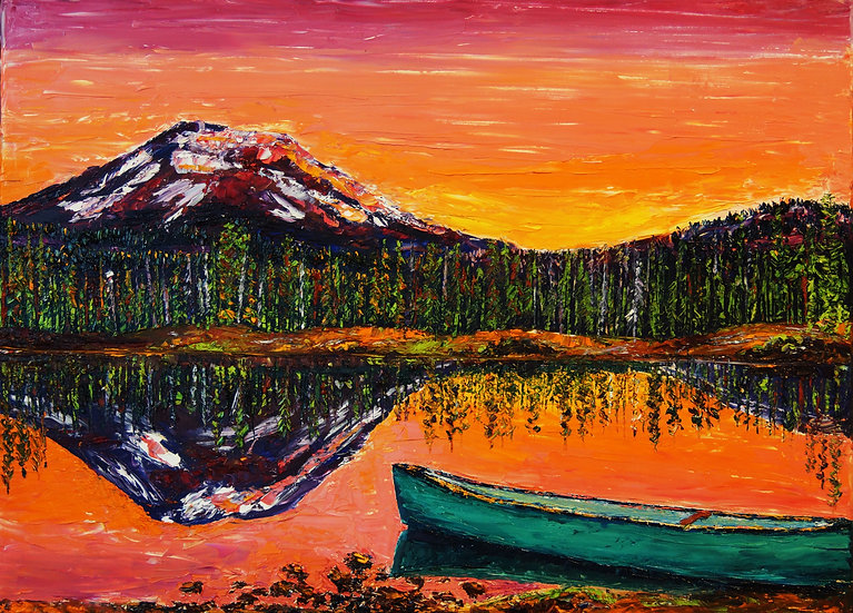 """Lakeside Sunrise"" Oil on Canvas - 18x24"