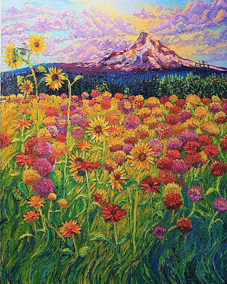 Teresas Daliahs. 48 x 60. Oil on canvas.