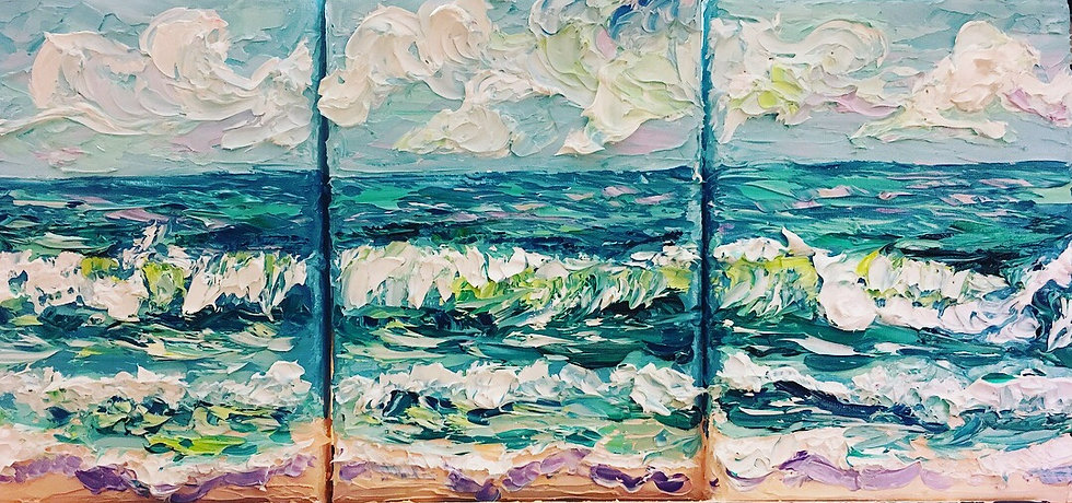 """Blissful Shores Set, 1,2 & 3"" Original Oil Painting Set-5x7"