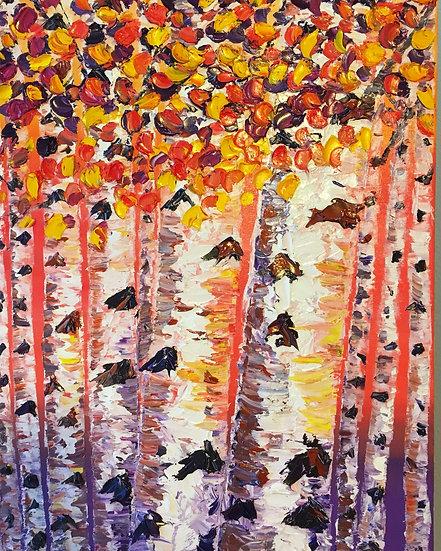 Birch Trees at Sunset 8x10