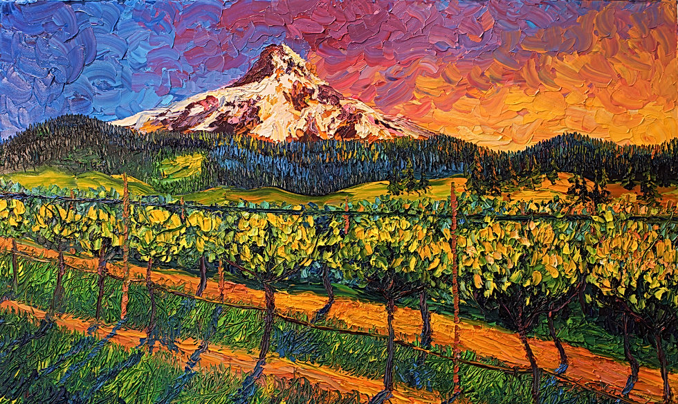 Mt. Hood Winery. 24x36. Oil on canvas. E