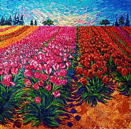Fields in Bloom. 36 x 36. Oil on Canvas.