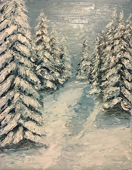 """Winter Pines."" 9x12 Oil on Canvas"